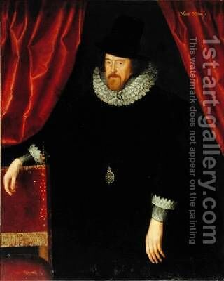 Portrait of Francis Bacon 1561-1626 1st Baron of Verulam and Viscount of St Albans by (attr. to) Larkin, William - Reproduction Oil Painting