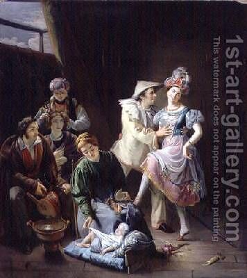 Travelling players resting behind the scenes by Jan Baptiste de Landtsheer - Reproduction Oil Painting