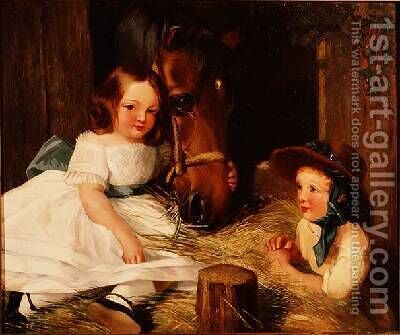 Two Children and a Pony by (after) Landseer, Sir Edwin - Reproduction Oil Painting