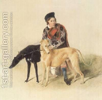 A Ghillie and two Deerhounds by (after) Landseer, Sir Edwin - Reproduction Oil Painting
