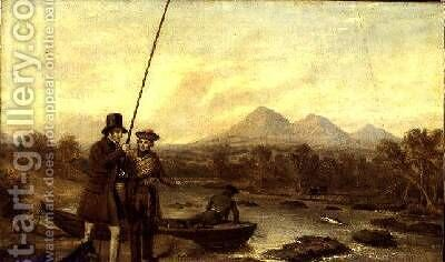 Salmon Fishing at Eildon Hill by Charles Landseer - Reproduction Oil Painting