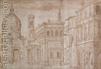 Architectural Capriccio by Baldassare (Baldassare da Urbino) Lanci - Reproduction Oil Painting