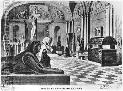 The Egyptian rooms in the Louvre Museum by Dieudonne Auguste Lancelot - Reproduction Oil Painting