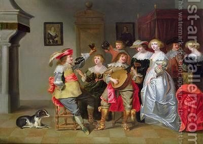 An Elegant Company Merry making in an interior by Christoffel Jacobsz van der Lamen - Reproduction Oil Painting