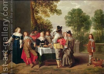 Elegant Company seated at a Table in a Formal Garden by Christoffel Jacobsz van der Lamen - Reproduction Oil Painting