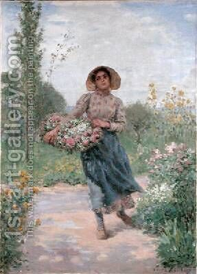 Picking flowers by Albert Lambert - Reproduction Oil Painting