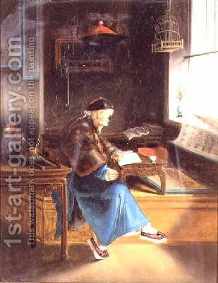 A Chinaman reading in his study by (attr. to) Lam Qua - Reproduction Oil Painting