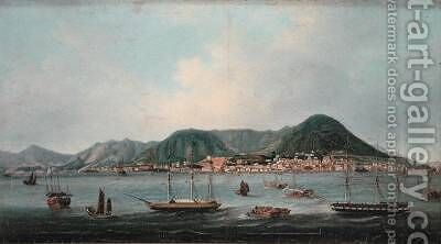 Harbour at Hong Kong by (attr. to) Lam Qua - Reproduction Oil Painting