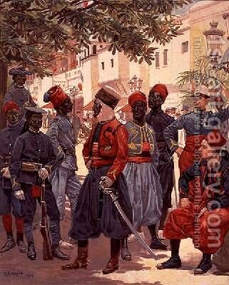 The Last Days of the Colonials in the Trocadero Gardens by Alphonse Lalauze - Reproduction Oil Painting