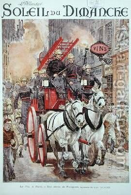 Firemen responding to a fire alarm in Paris by Alphonse Lalauze - Reproduction Oil Painting