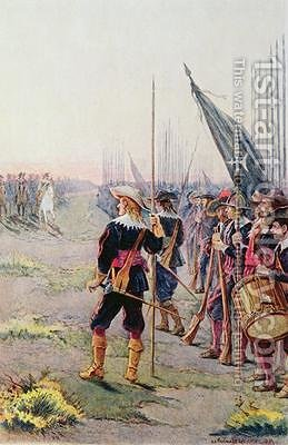 Battle of Rocroi the Duke of Enghien reviewing his troops on the eve of the battle by Alphonse Lalauze - Reproduction Oil Painting