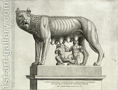 Drawing of the Etruscan bronze of the she wolf suckling Romulus and Remus by Antonio Lafreri - Reproduction Oil Painting