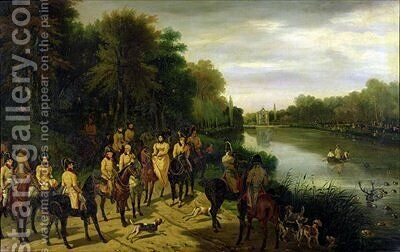 The Hunt at the Ponds by Adolphe Ladurner - Reproduction Oil Painting
