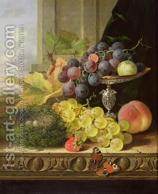Still life of fruit a tazza and a birds nest by Edward Ladell - Reproduction Oil Painting