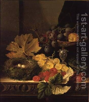 A Still Life of a Birds Nest Grapes in a Silver Dish and other Fruit by Edward Ladell - Reproduction Oil Painting
