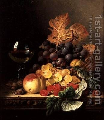 A Basket of Grapes Raspberries a Peach and A Wine Glass on a Table by Edward Ladell - Reproduction Oil Painting