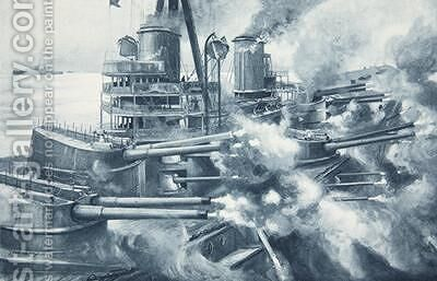 Biting with all her teeth at once the tremendous power of a Great modern Battleships broadside by Charles John de Lacy - Reproduction Oil Painting
