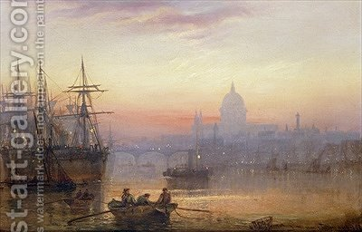 The Pool of London at Sundown by Charles John de Lacy - Reproduction Oil Painting