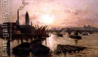 The Old Hungerford Bridge on the River Thames by Charles John de Lacy - Reproduction Oil Painting
