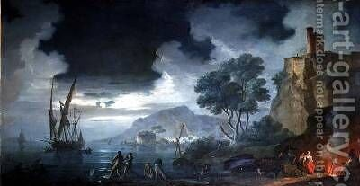 Evening a capriccio of a moonlit Mediterranean bay by Charles Francois Lacroix de Marseille - Reproduction Oil Painting