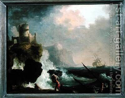 The Storm by Charles Francois Lacroix de Marseille - Reproduction Oil Painting