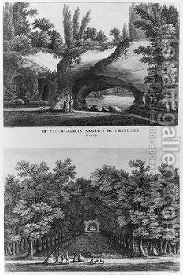 Two views of Chantilly the grotto of the English landscaped garden and the head of the Grand Canal by (after) Lacombe - Reproduction Oil Painting