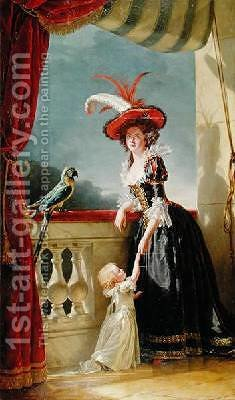 Portrait of Louise Elisabeth de France 1727-59 Duchess of Parma and her son Ferdinand 1751-1802 by Adelaide Labille-Guyard - Reproduction Oil Painting