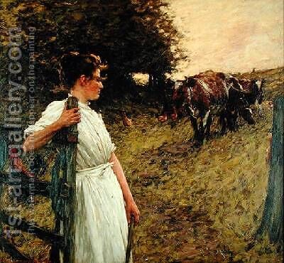 The Farmers Daughter by Henry Herbert La Thangue - Reproduction Oil Painting