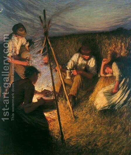 The Harvesters Supper by Henry Herbert La Thangue - Reproduction Oil Painting