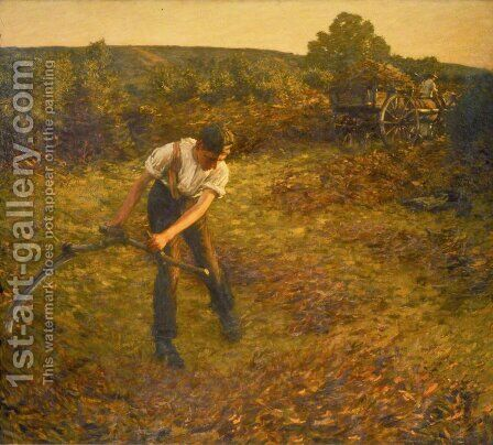 Mowing Bracken by Henry Herbert La Thangue - Reproduction Oil Painting