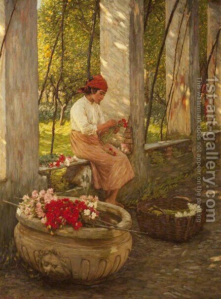 A Ligurian Flower Girl by Henry Herbert La Thangue - Reproduction Oil Painting