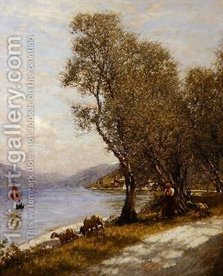 A Veronese Shepherdess Lake Garda by Henry Herbert La Thangue - Reproduction Oil Painting