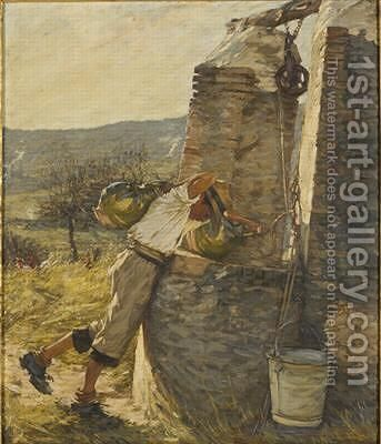 Boy Filling Water Jars at Well by Henry Herbert La Thangue - Reproduction Oil Painting