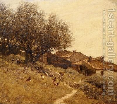 A Hillside Village in Provence by Henry Herbert La Thangue - Reproduction Oil Painting