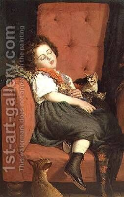 Girl sleeping with Kittens by Auguste L'Orange - Reproduction Oil Painting