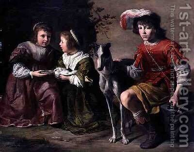 DArenberg Children with a Dog by Gysbert van de Kuyl - Reproduction Oil Painting