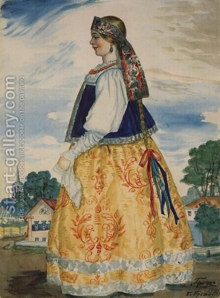 Costume Design for The Thunderstorm by Boris Kustodiev - Reproduction Oil Painting