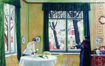 In the Room Winter by Boris Kustodiev - Reproduction Oil Painting