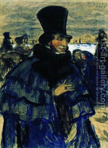 Portrait of Alexander Pushkin 1799-1837 on the Neva Embankment by Boris Kustodiev - Reproduction Oil Painting