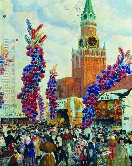 Easter Market at the Moscow Kremlin by Boris Kustodiev - Reproduction Oil Painting