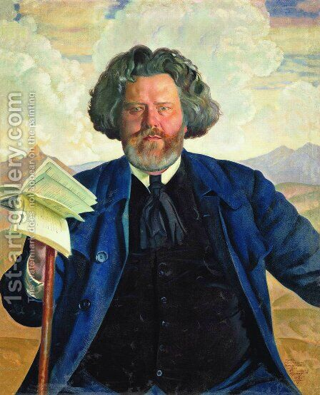Portrait of Maximilian Voloshin 1877-1932 by Boris Kustodiev - Reproduction Oil Painting