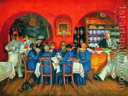 A Moscow Restaurant by Boris Kustodiev - Reproduction Oil Painting