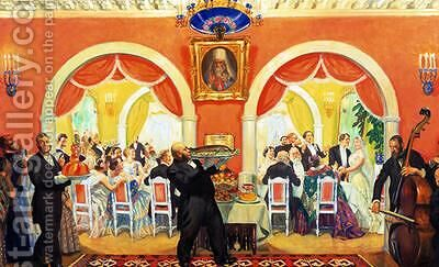 Wedding Feast by Boris Kustodiev - Reproduction Oil Painting