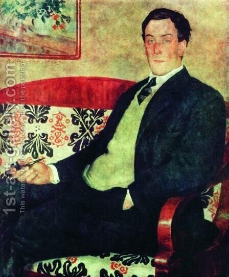 Portrait of Peter Kapitza 1894-1984 by Boris Kustodiev - Reproduction Oil Painting