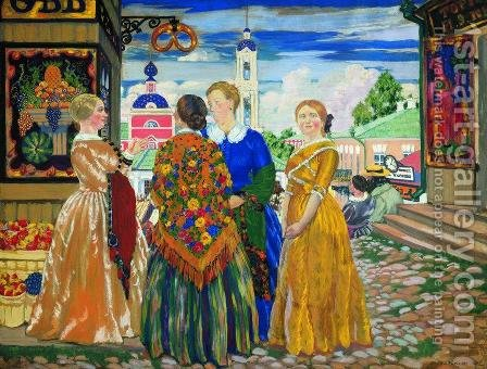 Merchant Women by Boris Kustodiev - Reproduction Oil Painting