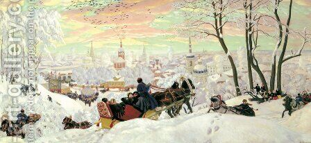 Arriving for Shrove tide by Boris Kustodiev - Reproduction Oil Painting