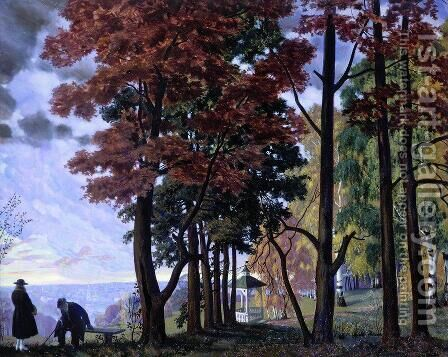 Autumn by Boris Kustodiev - Reproduction Oil Painting