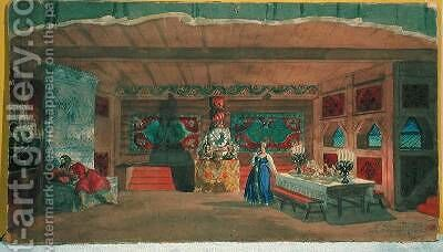 Stage design for Rimsky Korsakovs opera the The Tsars bride by Boris Kustodiev - Reproduction Oil Painting