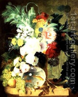 Still Life with Flowers and Fishbowl by C. Kuipers - Reproduction Oil Painting