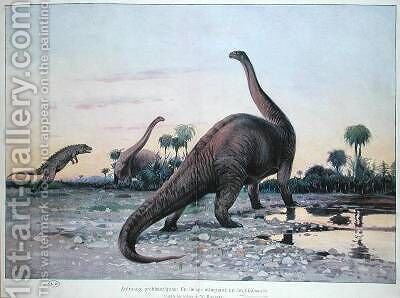 Prehistoric Animals a Laelaps attacking a Brontosaurus by (after) Kuhnert, Wilhelm - Reproduction Oil Painting